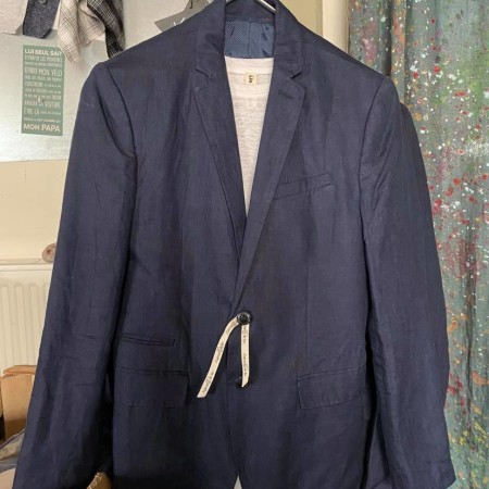veste costume en lin bleu marine homme