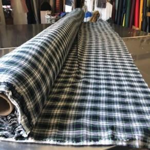 tissu lin lavé ecossais carreaux grande largeur Lin et L'autre Normandie