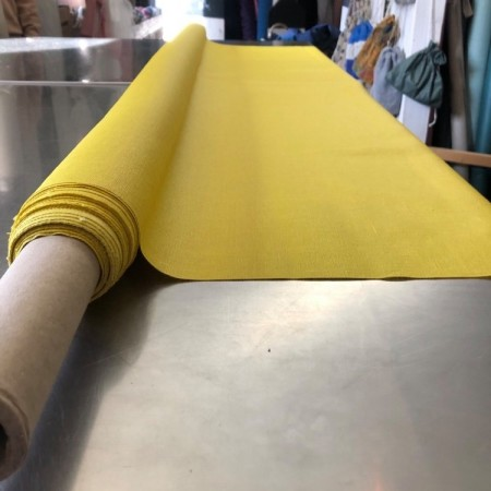 tissu lin enduit jaune 1m50