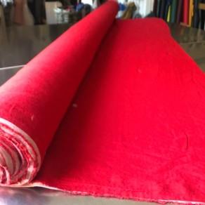tissu lin lavé rouge grande largeur lin et l'autre Normandie