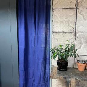 tissu lin lavé bleu travail