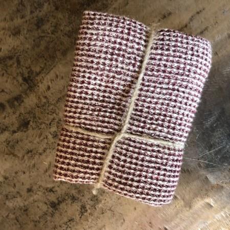 coupon tissu lin éponge nid d abeille bordeaux
