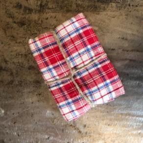tissu lin lavé écossais rouge en coupon