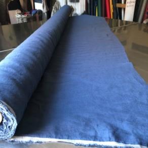 tissu lin lave bleu indigo grande largeur