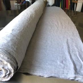 tissu lin lavé gris acier grande largeur