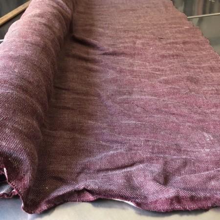 tissu lin bordeaux chevron 1m50