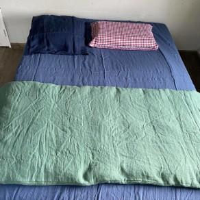 tissu lin lavé carreaux vichy lin et l'autre normandie grande largeur