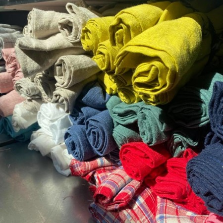 serviettes de table en lin lave multicolores