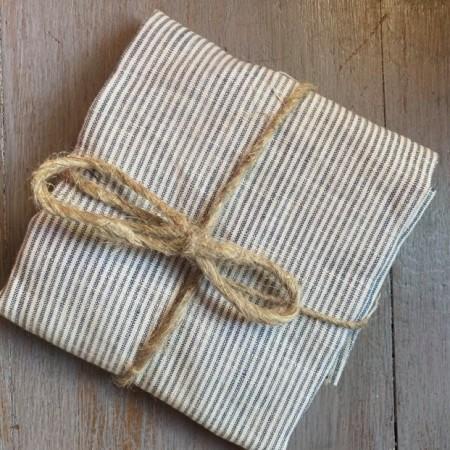 coupon de tissu lin lavé fin rayures bleues
