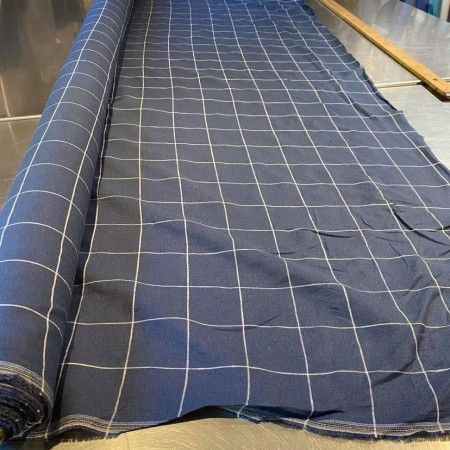 tissu lin fin lavé carreaux petite largeur