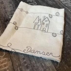tissu lin lavé fin unique dessin crée par nous