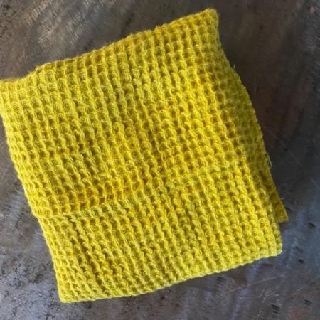 tissu lin éponge jaune curry