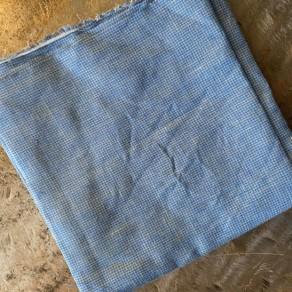 coupon de tissu lin fin lavé petits carreaux vichy