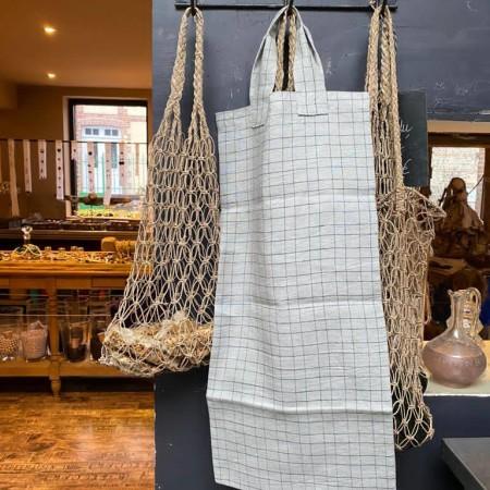 tissu lin lave carreaux grande largeur Lin et L'autre Normandie