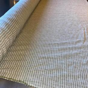 tissu lin lavé rayures blanches et vertes lin et l'autre normandie