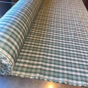 tissu lin imprimé carreaux vert petite largeur 1m50