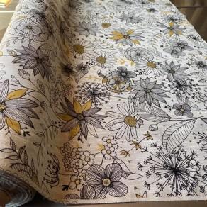 tissu lin imprimé à fleurs d'artifice petite largeur 1m50