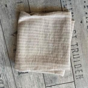 coupon de tissu lin lavé rayures beiges et blanches