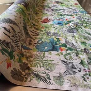 tissu lin imprimé forêt enchantée petite largeur 1m50