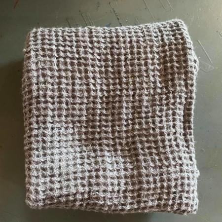 tissu lin éponge gris nid d'abeille en coupon