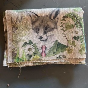 tissu lin imprimé forêt en coupon