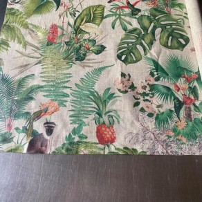 coupon de tissu lin enduit imprimé forêt