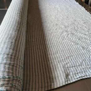 tissu lin lave rayures vertes