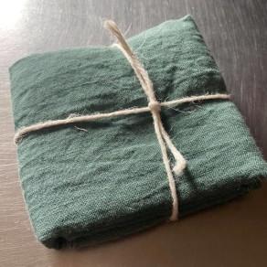 coupon de tissu lin lavé vert jade