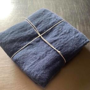 coupon de tissu lin lavé bleu mer