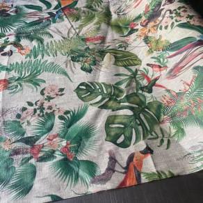 tissu lin enduit imprimé forêt