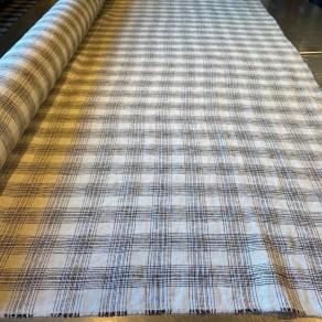 tissu lin lave imprime carreaux blancs
