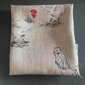 tissu lin imprimé poules