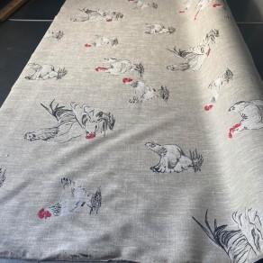 tissu lin imprimé poules en 1m50